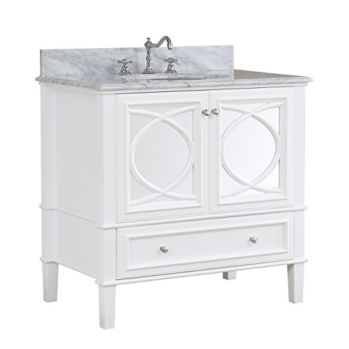 Olivia 36-inch Bathroom Vanity (Carrara/White): Includes a Carrara Marble Countertop, a White Cabinet, Soft Close Drawers, and a Ceramic Sink