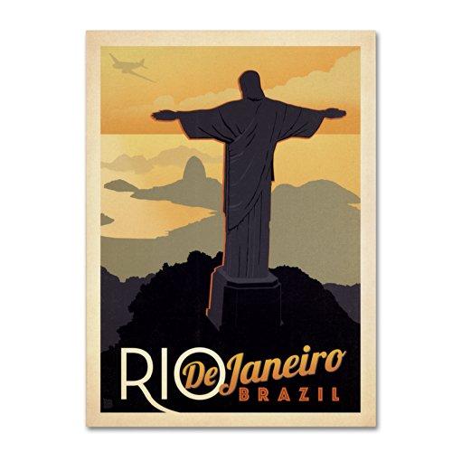 Rio de Janeiro, Brazil Artwork by Anderson Design Group, 14 by 19-Inch Canvas Wall Art (Rio Statue Janeiro De)
