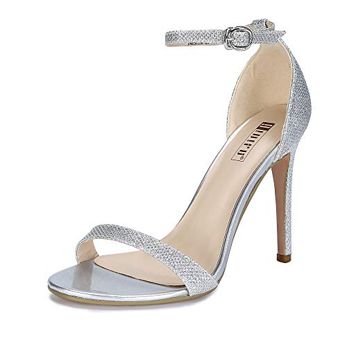 IDIFU Women's IN4 Slim-HI Open Toe Stiletto High Heel Ankle Strap Dress Sandals Party Shoes Silver Glitter 9 M US
