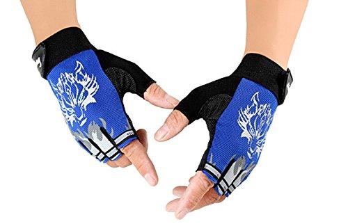 Unisex Kids Children Outdoor Sports Fitness Gloves Riding Cycling Biking Gloves Non-slip Mountain Bike Gloves Half Finger Shockproof Gloves