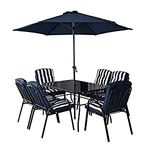 HECTARE Hadleigh Patio 6 Seater Dining Set with Parasol Navy