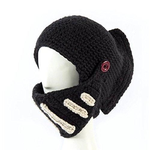 Xcellent Global Unisex Roman Knight Visor Helmet Cap Handmade Knitting Beanies Windproof Dustproof Hat Face Mask, Black SP029B