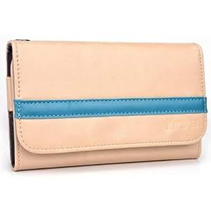 Tan - Deep Sky Blue Kroo Universal Smartphone Wallet Case with Belt Loop fits Samsung Galaxy S4 Zoom