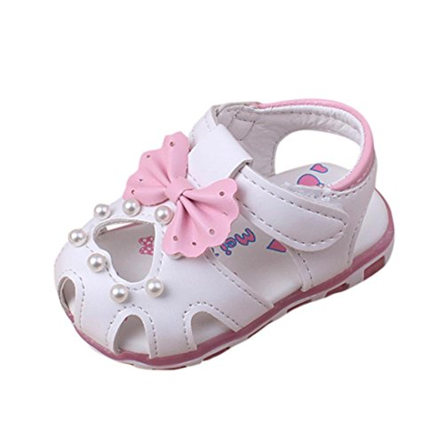 (Girls Sandals, Iuhan Baby Sneaker Pearl Bowknot Children Light Luminous Shoes (Age:9Months, White))