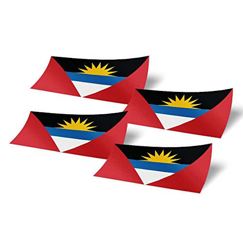 Desert Cactus Antigua and Barbuda 4 Pack of 4 Inch Wide Country Flag Stickers Decal for Window Laptop Computer Vinyl Car Bumper 4