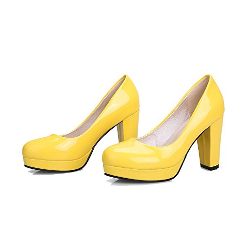 AllhqFashion Damen Hoher Absatz Blend-Materialien Rein Ziehen auf Rund Zehe Pumps Schuhe Gelb