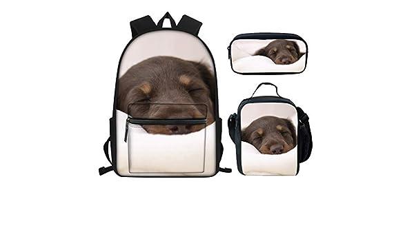 Dachshund on Dots Girls Pink Preschool Toddler Childrens Backpack /& Lunch Box Set