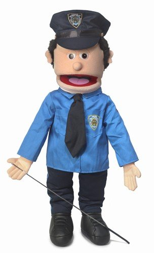 25'' Policeman, Peach Male, Full Body, Ventriloquist Style Puppet