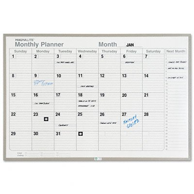 Magna Visual ML-231 Magna Visual Monthly Planning Board, Porcelain-On-Steel, 36 x 24, Gray by Magna Visual