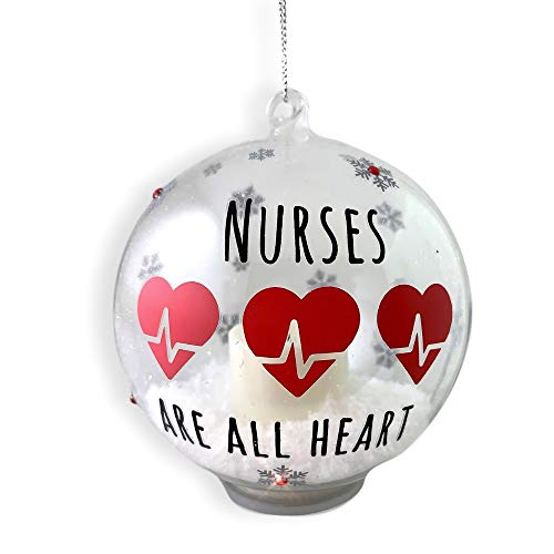 BANBERRY DESIGNS Nurse Ornament - Glass Ball Christmas Ornament with LED Votive Candle and Glitter - Hand-Painted with Nurses are All Heart - Heartbeat - Glass Christmas Ornament Design
