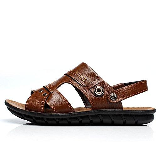 Verão Eu39cn40 Praia Marrom Genuíno De Sandálias Sapatos Couro Homens qY8wTxR