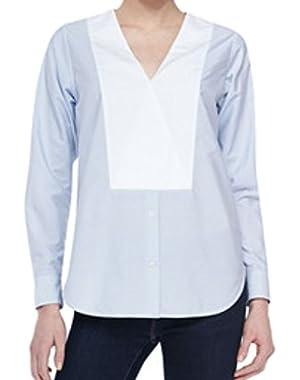 Theory Women's Suejia C Striped Cotton Poplin Tunic Top Fine Stripe Blue White