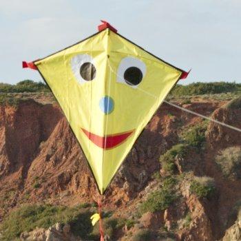 Einleiner-Drachen - Happy Eddy YELLOW - für Kinder ab 3 Jahren - Abmessung: 67x70cm - inkl. 80m Drachenschnur und Schleifenschwanz