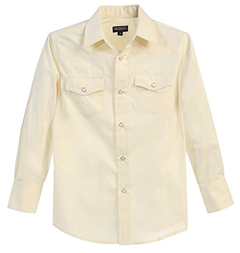 (Gioberti Big Boys Casual Western Solid Long Sleeve Shirt with Pearl Snaps, Ivory, Size 8)