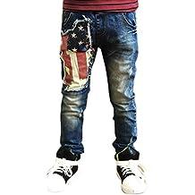 WARMSHOP New Pants For Boys USA Flag Printing Holes Zipper Denim Trousers