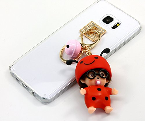 TISHAA Samsung Galaxy Note 5 Case, New 2016 Hot Silver Gold Bear Bumble Bee Strawberry Apricot Key Chain Charm Doll Case Cover (Lady (Sick Animations Halloween)