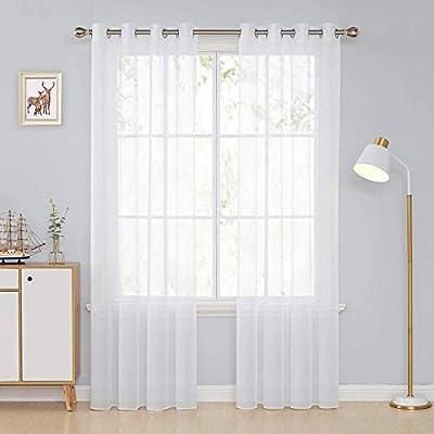 Deconovo Tende Trasparenti Finestre Soggiorno in Voile per Interni Moderne  con Occhielli 140x240cm Bianco 2 Pannelli