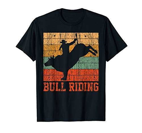Bull Riding Retro Vintage T-Shirt Rodeo Western Country ()