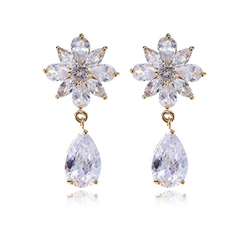 Crystal Floral Earrings for Wedding - Women's Gold Flower Cluster Teardrop CZ Cubic Zirconia Rhinestone Bridal Earrings for Bride Bridesmaids Mother of Bride Pageant Party Prom by AMYJANE ()
