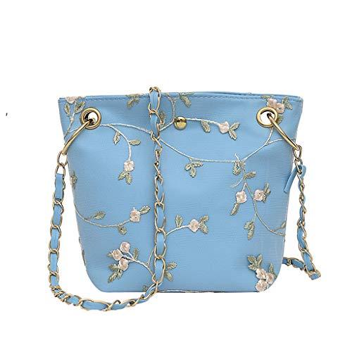 - DZTZ Women Beach Lace Embroid Bucket Bag Square Bag Messenger Bag (Blue)