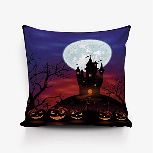 (YOLIYANA Halloween Decorations Soft Throw Pillow Cover,Gothic Haunted House Castle Hill Valley Night Sky October Festival Theme for Home Office,20