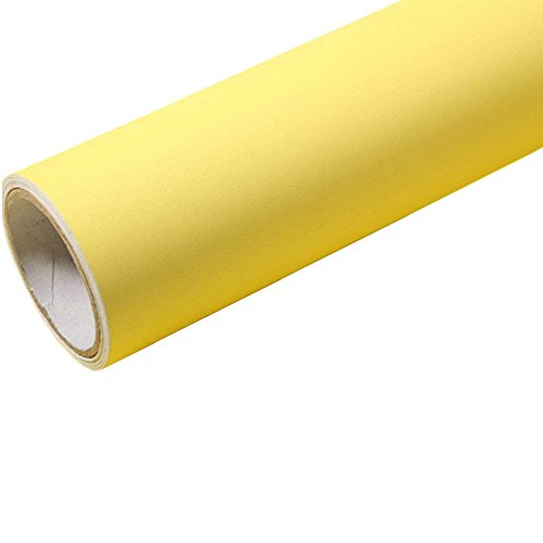 Temall Solid Color Gloss Contact Paper Self Adhesive Peel and Stick Wallpaper for Counter Top 24''x79'' (Frosted Light Yellow)