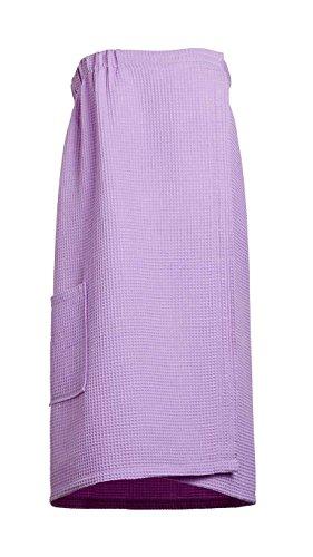 Goza Towels Women's Spa Bath Shower Waffle Wrap Towel with Pocket (One Size, Lilac)