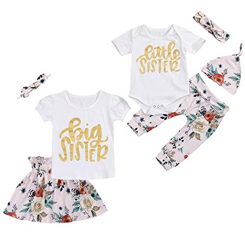- Toddler Baby Girls Sister Outfit Letter Romper T-Shirt Tops Floral Tutu Skirt Summer Pants Clothes Set (Big Sister, 2-3 Years)