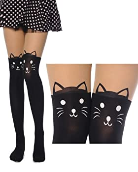 New Arrival Top Fashion Cute Sexy High Length Knee Print Socks Sheer Pantyhose Tattoo Lady Tights Socks Leggings Stockings Kitten Print Knee High Length Socks Tattoo Tights for Women Ladies