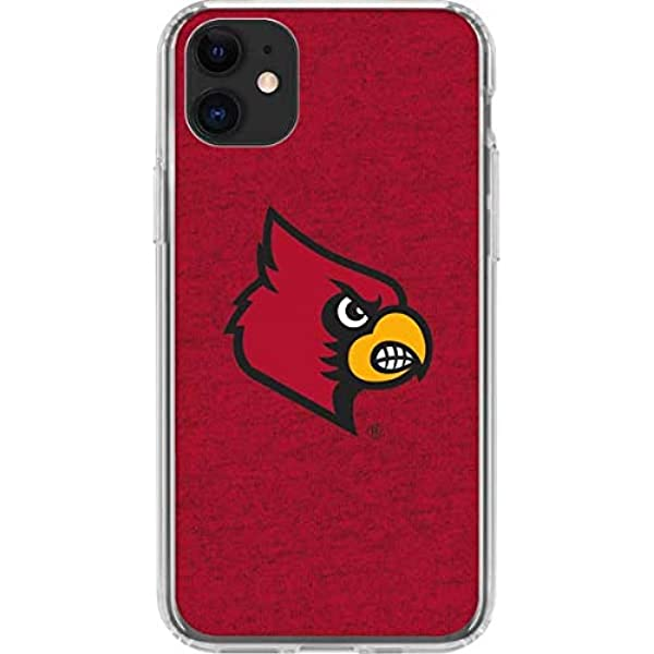 Amazon Com Skinit Clear Phone Case Compatible With Iphone 11 Officially Licensed College Louisville Red Background Design Electronics