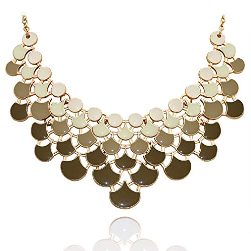 JANE STONE Fan Statement 2019 Fashion Resin Frontal Bib Martini Olive Peacock Necklace Popular ()
