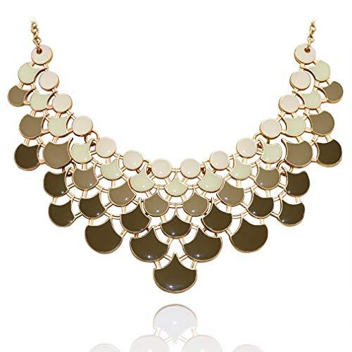 JANE STONE Fan Statement 2019 Fashion Resin Frontal Bib Martini Olive Peacock Necklace Popular - Bib Jewelry
