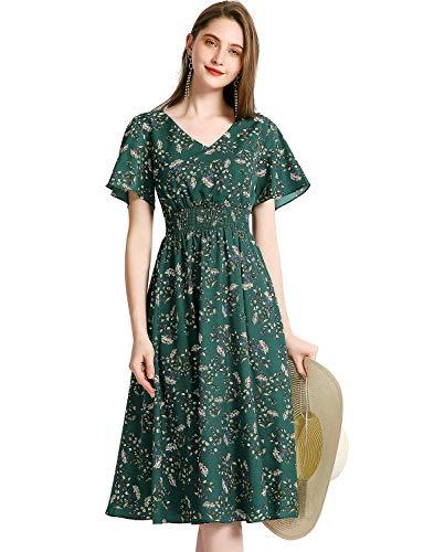 Gardenwed Floral Print Chiffon Summer Dresses for Women Flowy Midi Sundress Bohemian Beach Party Dress Green Small Flower S