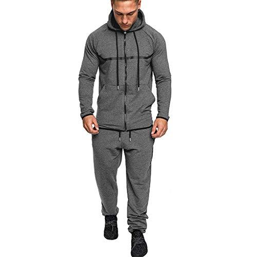 YOcheerful Zipper Patchwork Sweatshirt Sets Men's Hip Hop Style Hooded Tops Pants Sets Sports Suit Tracksuit Dark Gray