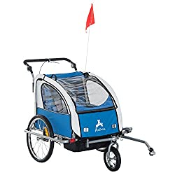 Aosom Elite II 3in1 Double Child Bike Trailer Blue