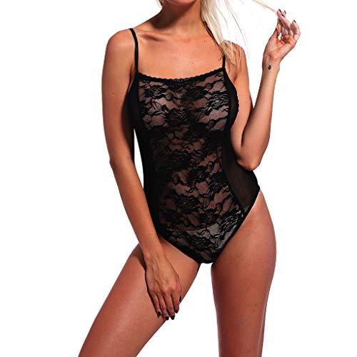 Women's Black Three-Point Lace Siamese Openwork Sexy Perspective Underwear (Black, XL) by Huaze (Image #1)
