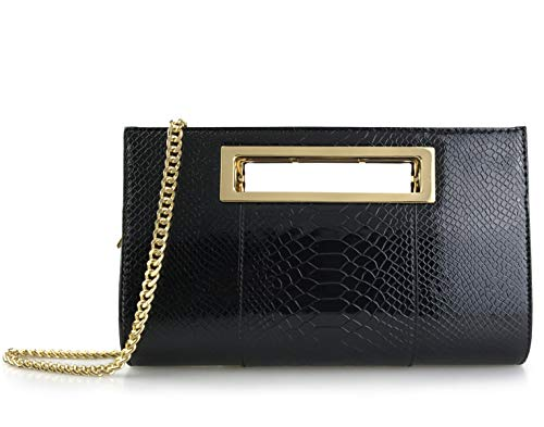 Hoxis Classic Crocodile Pattern Faux Patent Leather Metal Grip Cut it out Clutch with Shoulder Strap Womens Handbag(Black) by Hoxis (Image #1)