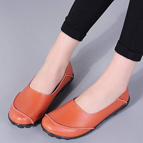 Casual Orange1 Damen Fahren Leder Hishoes Mokassin Schuhe Loafers Flache pBw1CxqC