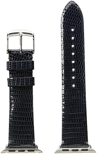 MICHELE MS38AB030400 38mm Apple Strap Leather Lizard Blue Watch Strap