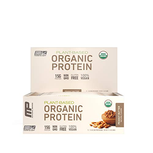 MusclePharm Organic Protein Bar, Certified USDA Organic, 15g Plant-Based Protein, No Artificial Ingredients, Gluten-Free, Non-GMO, Peanut Butter, 12 Bars