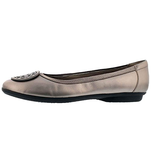 CLARKS Women's Gracelin Lola Ballet Flat, Pewter Metlaiic Leather, 7 Medium US