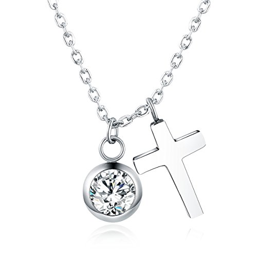 Vinjewelry Stainless Steel Cross Necklace Simulated Diamond April Birthstone Gifts for Her