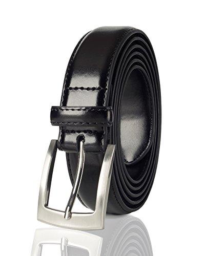 (Belts for Men Mens Belt Buckle Genuine Leather Stitched Uniform Dress Belt - Black (34))