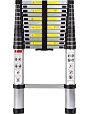 14.8FT Aluminum Telescoping Ladders Multi-Purpose Extendable Telescopic Ladder Retractable Ladder for RV Outdoor Work 330 Pound Max Capacity EN131 Certified
