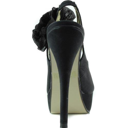 Womens Heel High Black Sandal Rose Side Pump Dress Decorated Fashion Platform Party Stilettos Shoes Toe Peep rwZqarx08