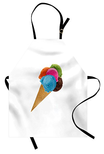Lunarable Ice Cream Apron, Realistic Colorful Scoops on a Waffle Cone Various Flavors with Rich Creamy Taste, Unisex Kitchen Bib Apron with Adjustable Neck for Cooking Baking Gardening, Blue Pink