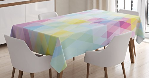 Ambesonne Abstract Tablecloth, Geometrical Vibrant Rainbow Themed Pastel Colored Rhombus Pattern Hipster Style, Dining Room Kitchen Rectangular Table Cover, 60