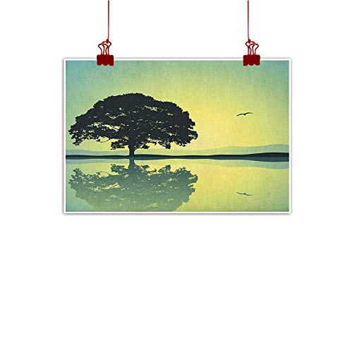 Outdoor Nature Inspiration Poster Wilderness Nature,A Plant Standing Alone with Reflection in Water Gulls Silhouettes Nature Scenery, Yellow Green 24