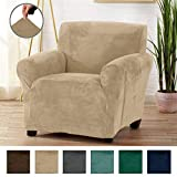 Great Bay Home Form Fit, Slip Resistant, Stylish Furniture Shield/Protector Featuring Velvet Plush Fabric Magnolia Collection Strapless Slipcover (Chair, Taupe - Solid)