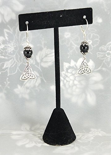 Double Celtic Triskelion Knot Earrings with Black Tourmaline, 1 3 4 , Sterling Silver